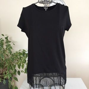 Soaked in Luxury black tee with bottom fringes
